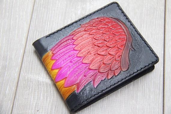 repoussé à la main portefeuille sculptés à la main aile porte monnaie en cuir femmes de portefeuille en cuir à la main peint aile cuir portefeuille femme & portefeuille pour homme
