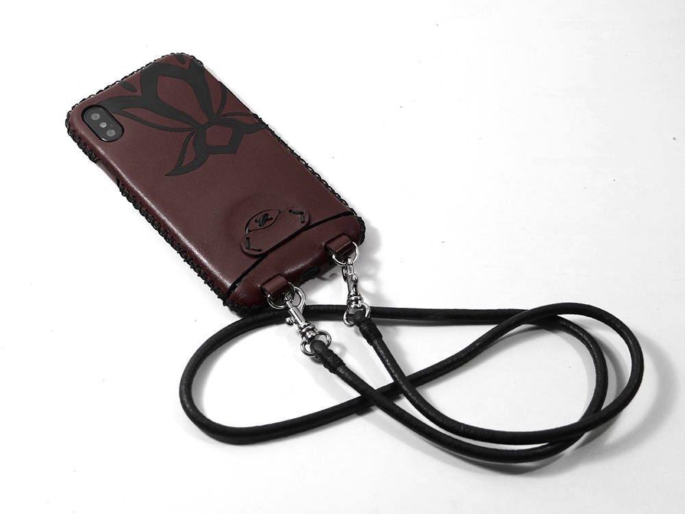 Leather iPhone X case Neck Strap Leather case Customized