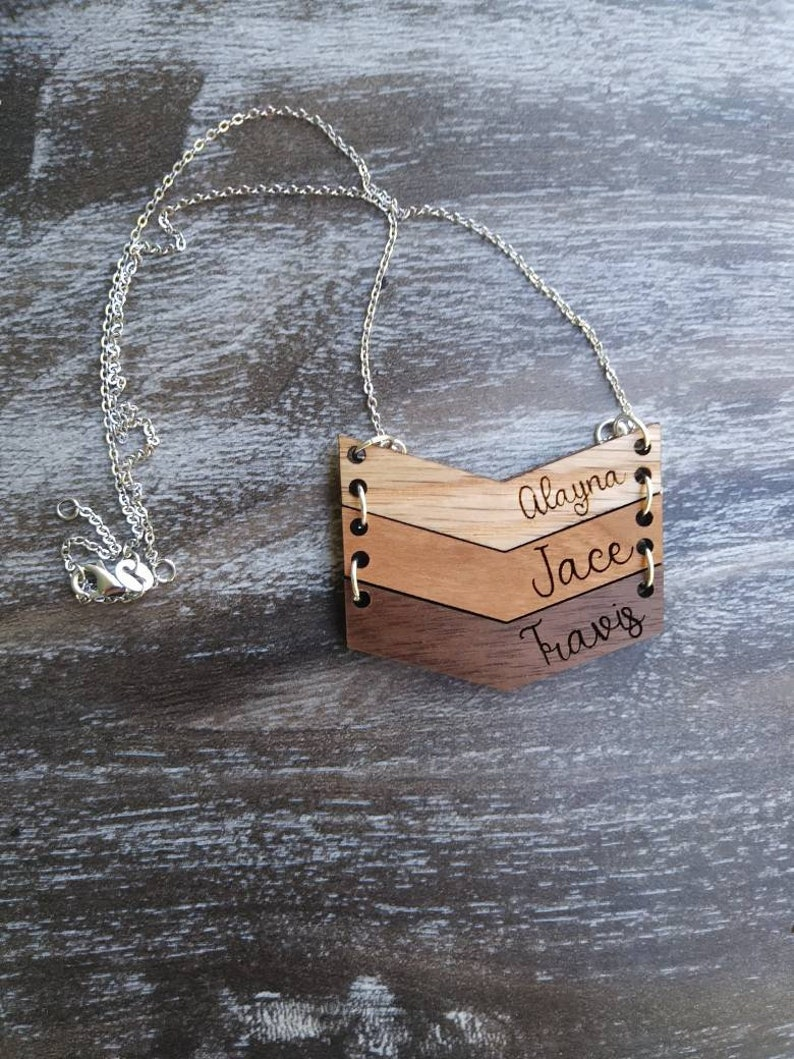 customize jewelry wood necklace wood name necklace Personalized name necklace necklace
