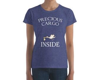 Precious Cargo Inside Having a Baby Stork Pregnancy Women's short sleeve t-shirt
