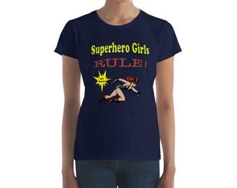Superhero Girls Rule Girl Power Golden Age Black Cat Female Empowerment Women's short sleeve t-shirt