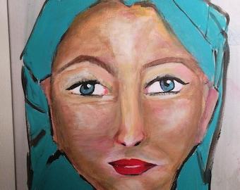 Original Portrait Blue-on canvas