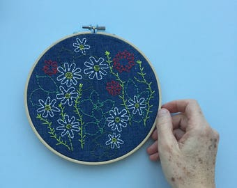 Embroidered wild flowers hoop art