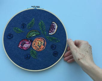 Embroidered Tutti Fruity hoop art