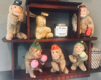 vintage 1950's Wind Up Monkey Collection of 5