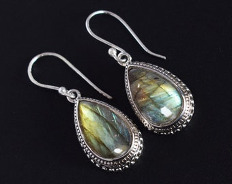 925 Sterling Silver Necklace Length 16.92Inche Labradorite Necklace Dainty Necklace Designer Necklace FSJ-4908 Blue Flashy Labradorite