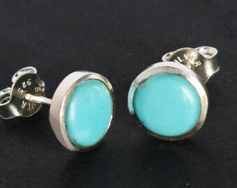 0ef9bb242 9 mm Sleeping Beauty Arizona Turquoise Gemstone Stud Earring, 925 Solid  Sterling Silver Jewellery, Studs Earrings, Girls Earring, Best Price