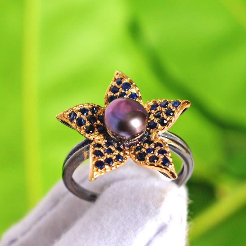 925 Sterling Silver Handmade Ring Black Pearl Gifts FSJ-5169 Black Rhodium Gold Plated Boho Jewellery Blue Sapphire Ring Silver Ring