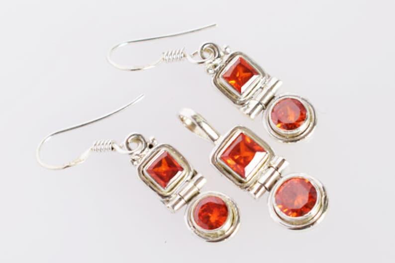 Amazing Red Quartz Gemstone Pendant Earring Set Handmade Jewellery Set Gifts For Women/'s FSJ-2169 925 Solid Sterling Silver Jewellery Set