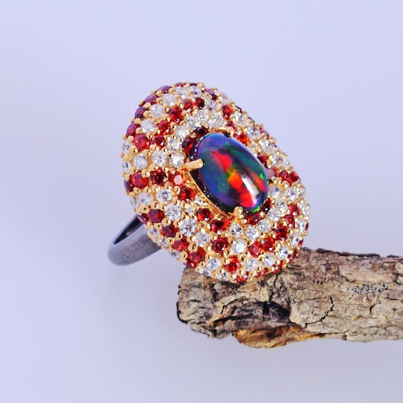 Gift for Mom Black Fire Opal Ring Black Rhodium FSJ-5128 Ethiopian Opal Ring Natural Opal Jewelry Crome Diopside Sterling Silver Ring
