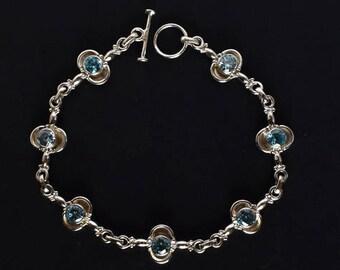 Beautiful Blue Topaz Quartz Gemstone Bracelet, 925 Solid Sterling Silver, Handmade Jewellery, Designer Bracelet Gift, Women Jewelry, FSJ-462