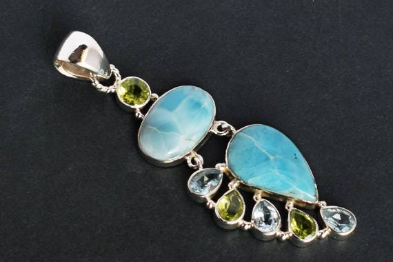 925 Sterling Silver Handmade Womens Jewellery FSJ-3130 Natural Dominican Republic Larimar Gemstone Pendant Jewellery