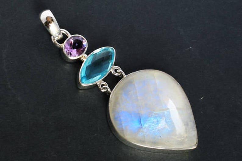 FSJ-1222 Blue Quartz Handmade 925 Solid Sterling Silver Designer Jewellery Amethyst Genuine Blue Flashy Fire Rainbow Moonstone Pendant