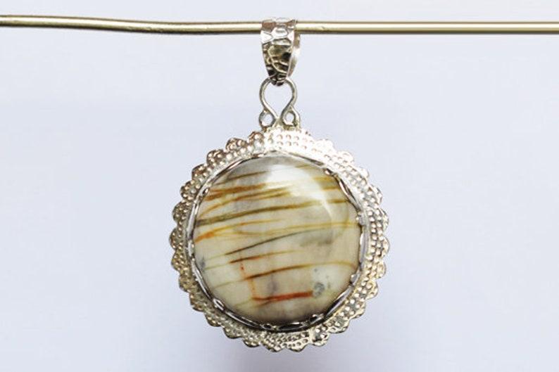 FSJ-1573 Jewellery For Women Natural Picasso Jasper Gemstone Round Pendant Wedding Gifts Handmade 925 Solid Sterling Silver