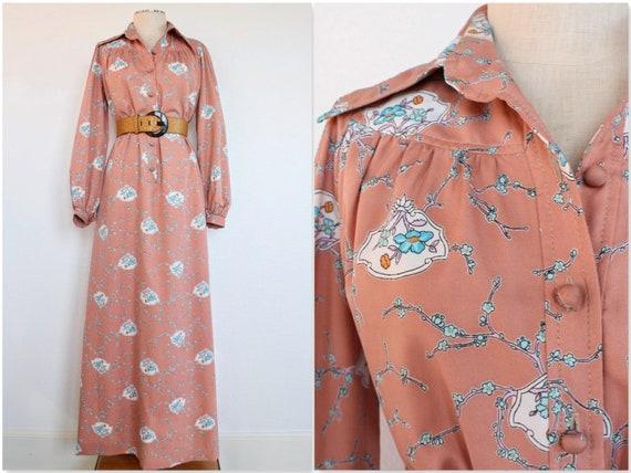 70's Vintage Prairie Dress | Peach Floral Maxi Dre
