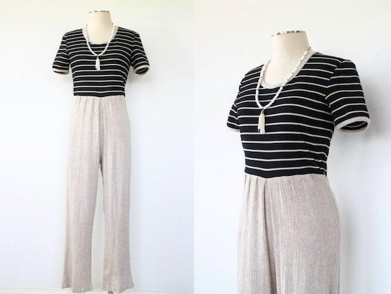 80's Linen Jumpsuit | Vintage Striped Jumpsuit | S