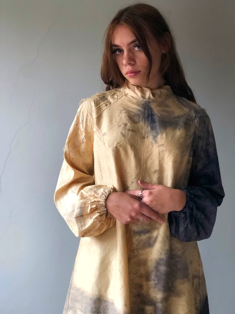The Lucy Blouse eco friendly open back naturally dyed plant dyes sustainable fashion free size upcycled silk smock bohemian