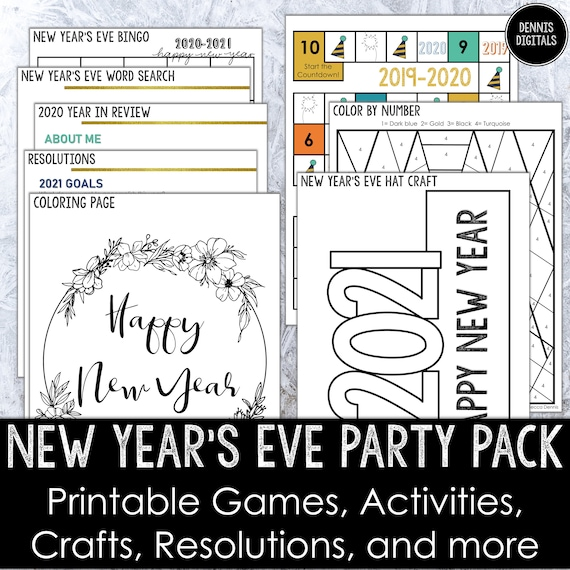 New Year's Eve Printable Party Pack  Games Crafts