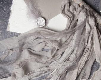 Dove Gray Hand Dyed Silk Ribbon