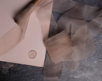 Bespoke Blush Organza Hand Dyed & Torn Silk Ribbon perfect for invitations, bridal bouquets, wedding decor, gift wrapping and home decor.