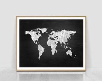 Blackboard world map etsy world map print world map world map wall art world map poster map decor printable map digital print blackboardwhite map on black gumiabroncs Images