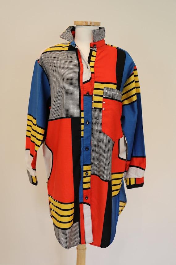 Rare *Mondrian* 80's Geometric Print Pop Art Shirt