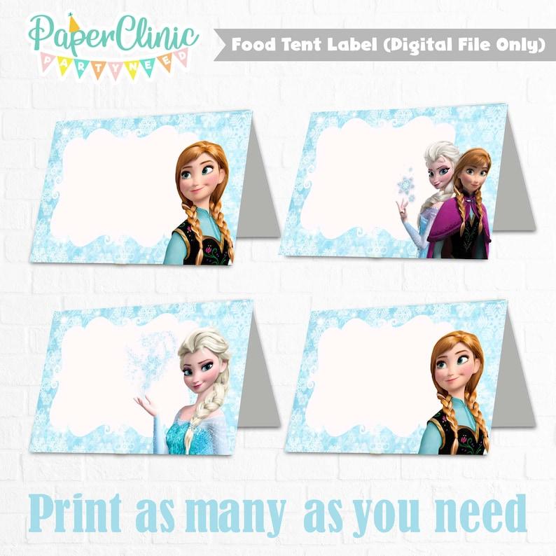 Disney Frozen Food Labels Frozen Food Tents Cards Tags Frozen Party Printable Instant Download