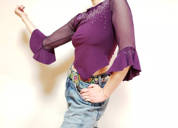 See through sleeve TOPS! Sequin Crop Top vintage,