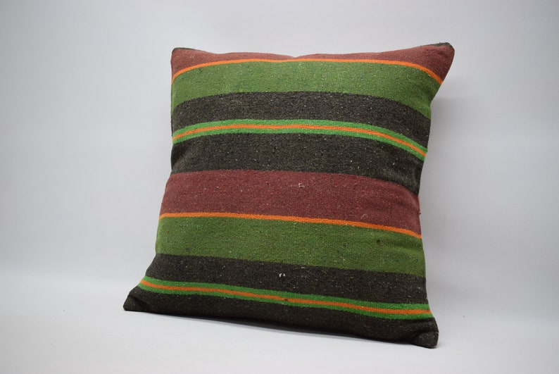 green colour striped decorative kilim pillow 24x24 handwoven anatolia kilim pillow bohemian kilim pillow lumbar kilim pillow bed pillow 0075