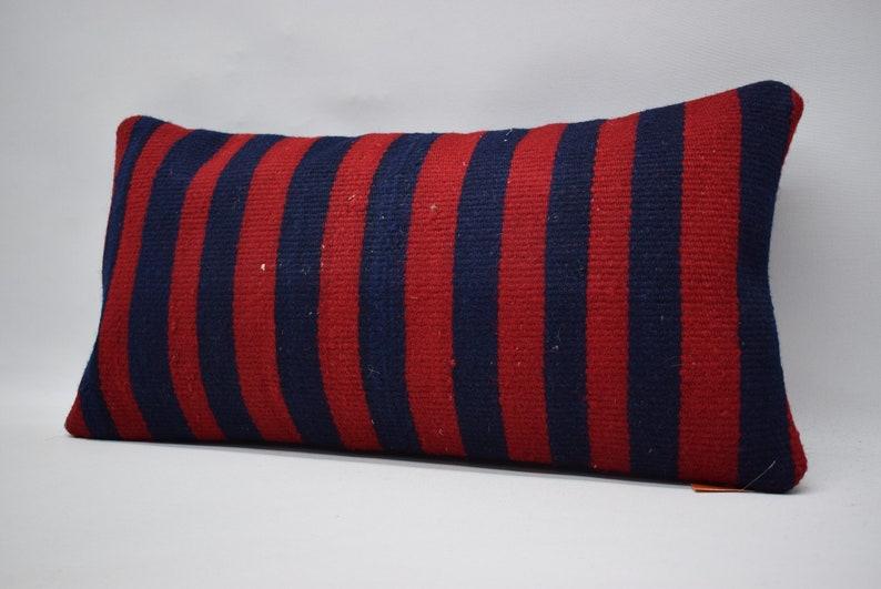 anatolian kilim pillow handwoven kilim pillow 12x24 red and blue colored kilim pillow decorative kilim pillow sofa pillow cushion cover 0814
