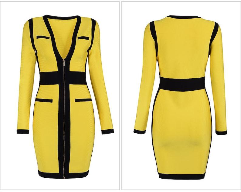 designer fashion 721ab bf1a9 Bandage Kleid Gelb & Schwarz Frauen V Hals Langarm-Valentinstag-Kleid