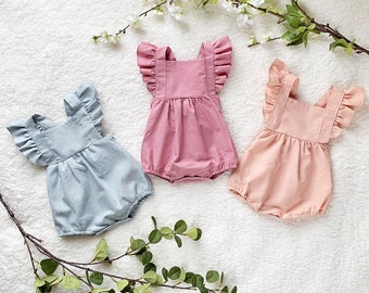 4fbe4fed1 Baby linen cotton ruffle Romper Bodysuit Natural Ruffles Baby shower gift Baby  Girl Boy Vintage Clothes Boho Style Playsuit