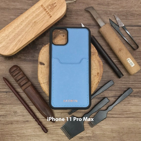Customized iPhone Case Card Slot Embossed Personalized Handmade Leather Red Saffiano Made to Order Shockproof Apple