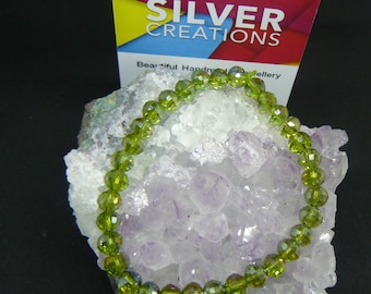 Crystal Peridot coloured  stretchy bracelet , Wear and go