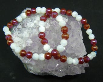 Mystic Carnelian and Mother of pearl stretchy bracelets