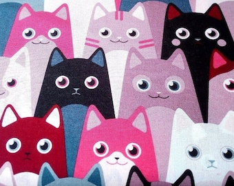 9.90, 00 Euro per metre-fabric from woven fabrics 100% cotton 140 cm wide cool cats red pink