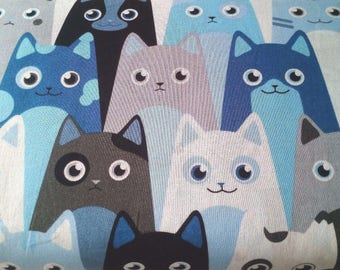 9.90, 00 Euro per metre-fabric from woven fabrics 100% cotton 140 cm wide cool cats Blue