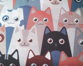 9.90, 00 Euro per metre-fabric from woven fabrics 100% cotton 140 cm wide cool cats Brown