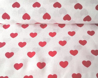 9.00, 00 Euro per metre-fabric from woven fabrics 100% cotton 140 cm wide heart white red