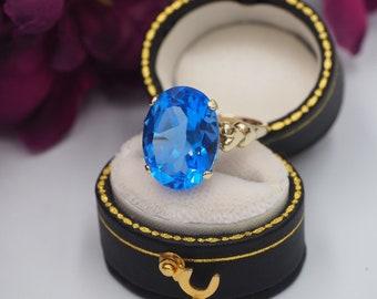 5b46d274c Vintage 9ct Gold Blue Quartz Heart Detail Solitaire Ring, Size L 1/2 or 5  7/8, Statement Ring, Engagement Ring, Blue Quartz Ring, Heart Ring