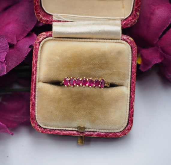 Vintage 9ct Gold Ruby Seven Stone Ring, Size K 1/2