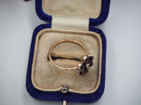 Antique 9ct Gold Garnet and Diamond Flower Ring, … - image 7
