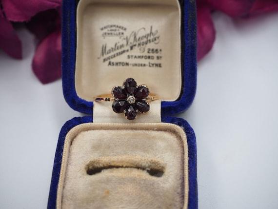Antique 9ct Gold Garnet and Diamond Flower Ring, … - image 5