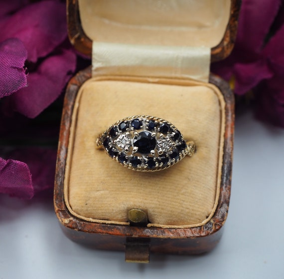 Vintage 9ct Gold Sapphire and Diamond Eye Ring, Si