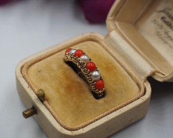 Vintage 9ct Gold Coral and Pearl Band Ring, Size M 1/2 or 6.75, Vintage Engagement Ring, Half Eternity Ring, Vintage Coral, Vintage Pearl