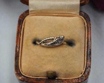 Vintage 9ct Gold Diamond Snake Ring, Size K or 5.5, Vintage Engagement Ring, Vintage Snake Ring, Diamond Snake Ring, Vintage Diamond Ring