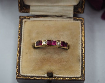 Vintage 18ct Gold Ruby and Diamond Half Eternity Ring, Size M 1/2 or 6.75, Vintage Engagement Ring, Vintage Ruby Ring, Vintage Diamond Ring,