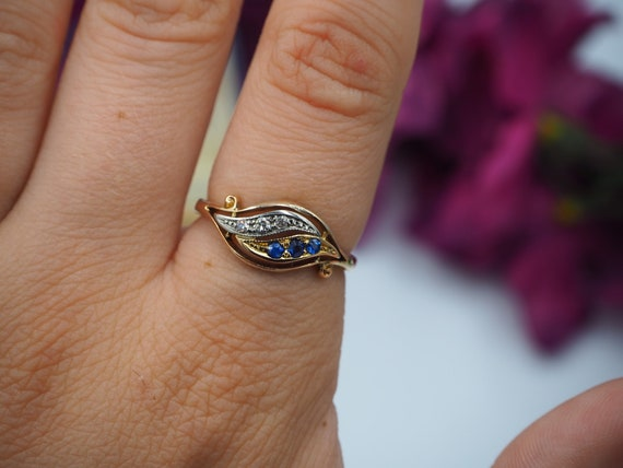 Antique 18ct Gold Sapphire and Diamond Ring, Size… - image 7