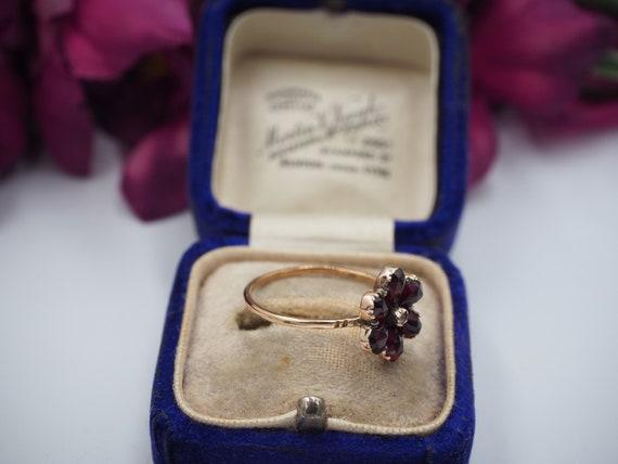 Antique 9ct Gold Garnet and Diamond Flower Ring, … - image 6