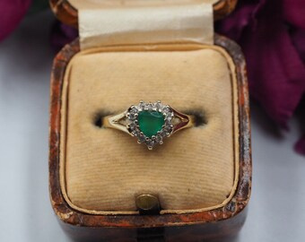 Vintage 9ct Gold Chrysoprase and Cubic Zirconia Heart Ring, Size O or 7.5, Vintage Engagement Ring, Vintage Heart Ring, Green Stone Ring